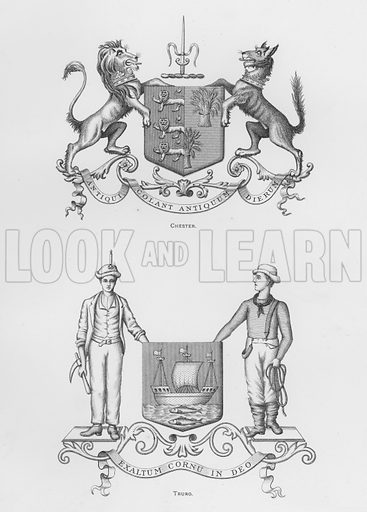 Chester; Truro. Illustration for The Book of Public Arms, A Cyclopaedia, by Arthur Charles Fox-Davies and M E B Crookes (Jack, 1894).