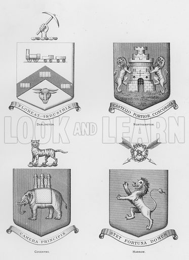 Darlington; Northampton; Coventry; Harrow. Illustration for The Book of Public Arms, A Cyclopaedia, by Arthur Charles Fox-Davies and M E B Crookes (Jack, 1894).