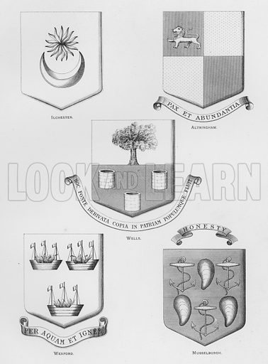 Ilchester; Altringham; Wells; Wexford; Musselburgh. Illustration for The Book of Public Arms, A Cyclopaedia, by Arthur Charles Fox-Davies and M E B Crookes (Jack, 1894).