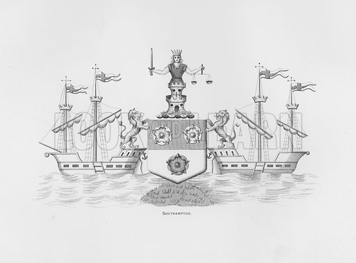 Southampton. Illustration for The Book of Public Arms, A Cyclopaedia, by Arthur Charles Fox-Davies and M E B Crookes (Jack, 1894).