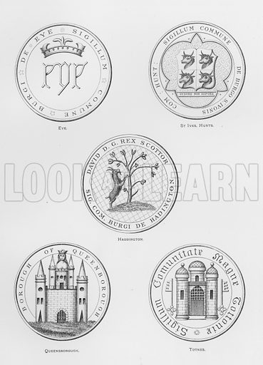 Eye; St Ives, Huntingdonshire; Haddington; Queensborough; Totnes. Illustration for The Book of Public Arms, A Cyclopaedia, by Arthur Charles Fox-Davies and M E B Crookes (Jack, 1894).