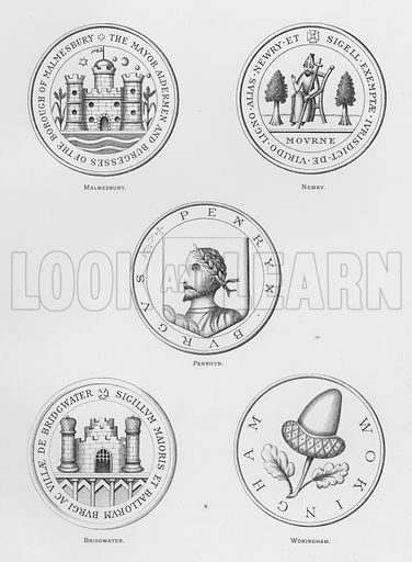 Malmesbury; Newry; Penrhyn; Bridgwater; Wokingham. Illustration for The Book of Public Arms, A Cyclopaedia, by Arthur Charles Fox-Davies and M E B Crookes (Jack, 1894).