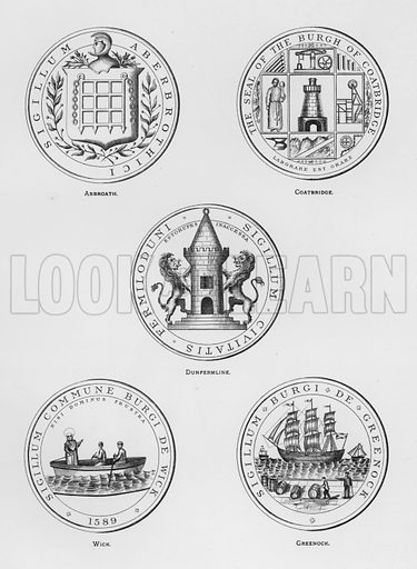 Arbroath; Coatbridge; Dunfermline; Wick; Greenock. Illustration for The Book of Public Arms, A Cyclopaedia, by Arthur Charles Fox-Davies and M E B Crookes (Jack, 1894).