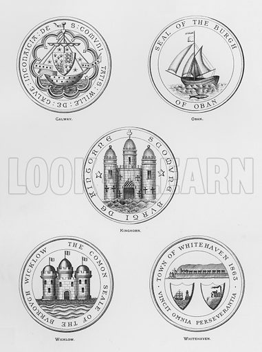 Galway; Oban; Kinghorn; Wicklow; Whitehaven. Illustration for The Book of Public Arms, A Cyclopaedia, by Arthur Charles Fox-Davies and M E B Crookes (Jack, 1894).