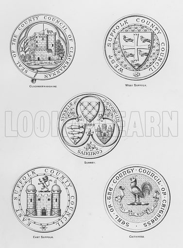 Clackmannanshire; West Suffolk; Surrey; East Suffolk; Caithness. Illustration for The Book of Public Arms, A Cyclopaedia, by Arthur Charles Fox-Davies and M E B Crookes (Jack, 1894).