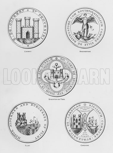 Conway; Basingstoke; Stockton-on-Tees; Flint; Cardigan. Illustration for The Book of Public Arms, A Cyclopaedia, by Arthur Charles Fox-Davies and M E B Crookes (Jack, 1894).