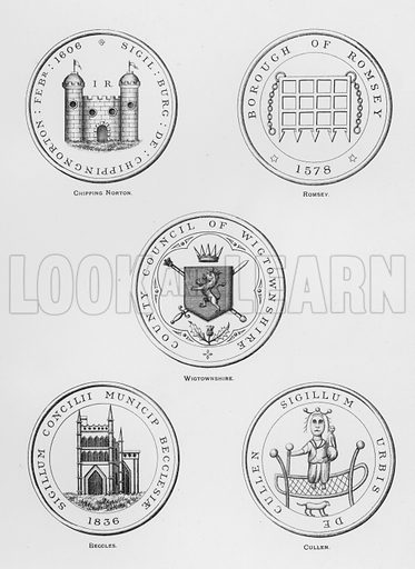 Chipping Norton; Romsey; Wigtownshire; Beccles; Cullen. Illustration for The Book of Public Arms, A Cyclopaedia, by Arthur Charles Fox-Davies and M E B Crookes (Jack, 1894).