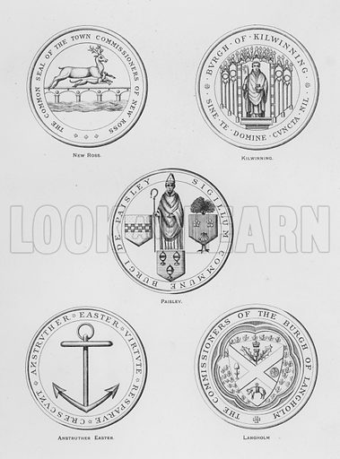 New Ross; Kilwinning; Paisley; Anstruther Easter; Langholm. Illustration for The Book of Public Arms, A Cyclopaedia, by Arthur Charles Fox-Davies and M E B Crookes (Jack, 1894).