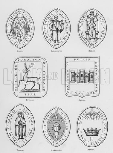 Chard; Leominster; Bodmin; Fethard; Ruthin; Thurso; Maidenhead; Henley. Illustration for The Book of Public Arms, A Cyclopaedia, by Arthur Charles Fox-Davies and M E B Crookes (Jack, 1894).