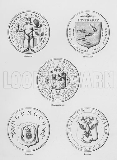 Oswestry; Inveraray; Campbeltown; Dornoch; Lanark. Illustration for The Book of Public Arms, A Cyclopaedia, by Arthur Charles Fox-Davies and M E B Crookes (Jack, 1894).