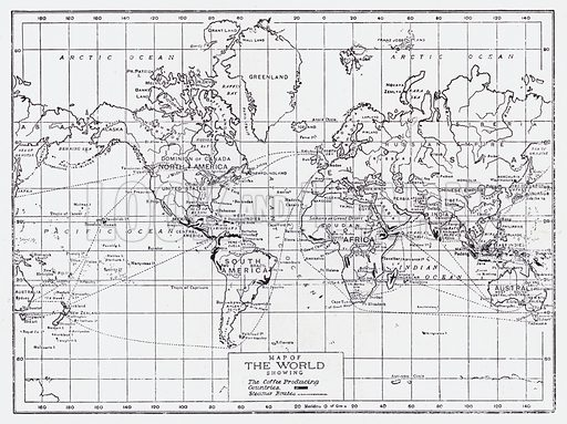 Map of the world showing the coffee producing countries. Illustration for The Raw Materials of Commerce by J Henry Vanstone (Pitman, 1929).
