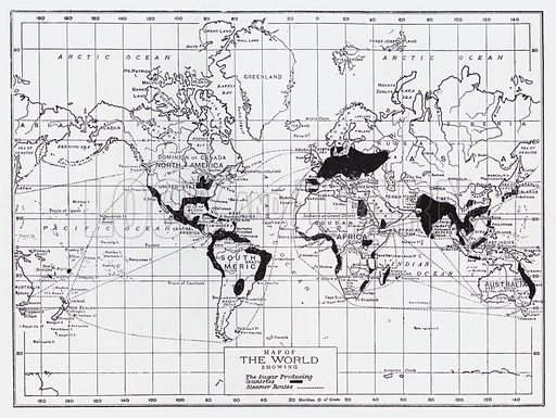 Map of the world showing the sugar producing countries. Illustration for The Raw Materials of Commerce by J Henry Vanstone (Pitman, 1929).