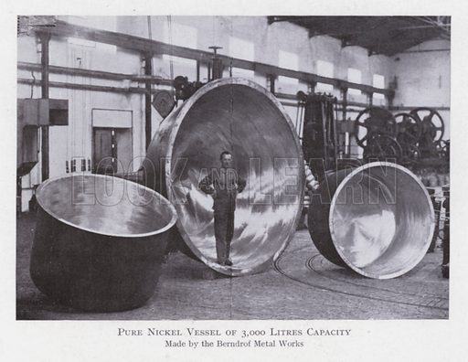 Pure nickel vessel of 3000 litres capacity. Illustration for The Raw Materials of Commerce by J Henry Vanstone (Pitman, 1929).