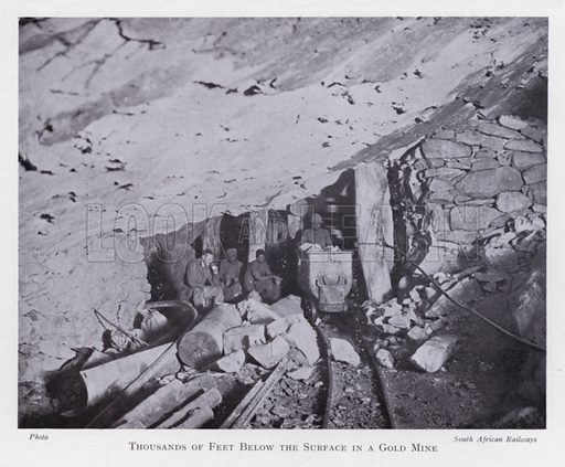 Thousands of feet below the surface in a gold mine. Illustration for The Raw Materials of Commerce by J Henry Vanstone (Pitman, 1929).