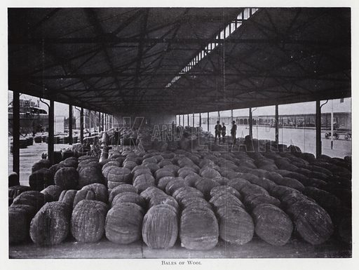 Bales of wool. Illustration for The Raw Materials of Commerce by J Henry Vanstone (Pitman, 1929).