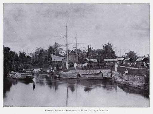 Loading bales of tobacco into river boats in Sumatra. Illustration for The Raw Materials of Commerce by J Henry Vanstone (Pitman, 1929).