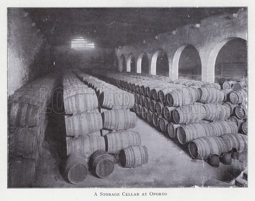 A storage cellar at Oporto. Illustration for The Raw Materials of Commerce by J Henry Vanstone (Pitman, 1929).