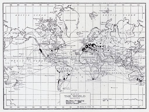 Map of the world showing the wine producing countries. Illustration for The Raw Materials of Commerce by J Henry Vanstone (Pitman, 1929).