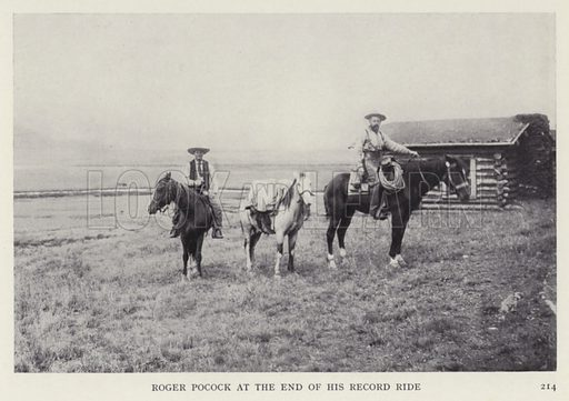 Roger Pocock at the end of his record ride. Illustration for Heroes of Modern Adventure by T C Bridges and H Hessell Tiltman (Harrap, 1927).