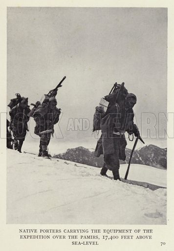 Native porters carrying the equipment of the expedition over the Pamirs, 17,400 feet above sea-level. Illustration for Heroes of Modern Adventure by T C Bridges and H Hessell Tiltman (Harrap, 1927).