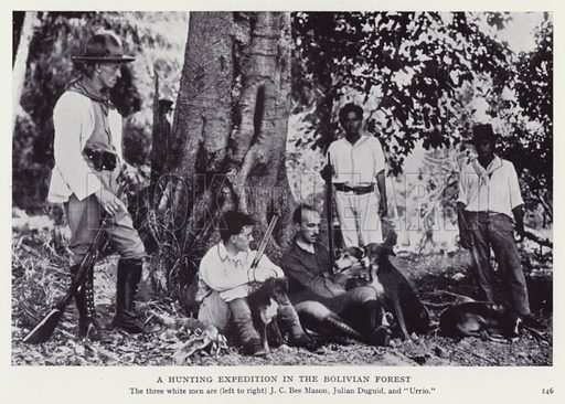 A hunting expedition in the Bolivian forest. Illustration for Recent Heroes of Modern Adventure by T C Bridges and H Hessell Tiltman (Harrap, 1932).