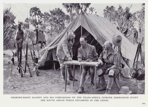 Georges-Marie Haardt and his companions on the Trans-Africa Citroen Expedition study the route ahead while encamped in the Congo. Illustration for Recent Heroes of Modern Adventure by T C Bridges and H Hessell Tiltman (Harrap, 1932).