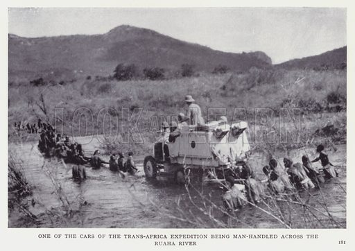 One of the cars of the Trans-Africa Expedition being man-handled across the Ruaha River. Illustration for Recent Heroes of Modern Adventure by T C Bridges and H Hessell Tiltman (Harrap, 1932).