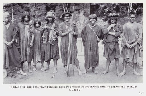 Indians of the Peruvian forests pose for their photographs during Stratford Jolly's journey. Illustration for Recent Heroes of Modern Adventure by T C Bridges and H Hessell Tiltman (Harrap, 1932).