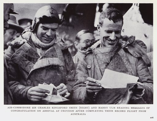 Air-Commodore Sir Charles Kingsford Smith (right) and Harry Ulm reading messages of congratulation on arrival at Croydon after completing their record flight from Australia. Illustration for Recent Heroes of Modern Adventure by T C Bridges and H Hessell Tiltman (Harrap, 1932).