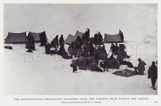The Kanchenjunga Expedition encamped near the Jonsong Peak during the ascent. Illustration for Recent Heroes of Modern Adventure by T C Bridges and H Hessell Tiltman (Harrap, 1932).