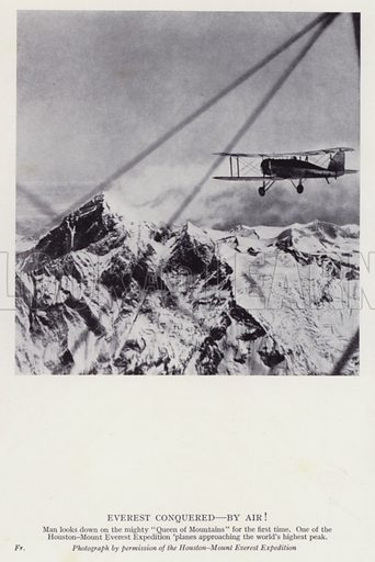 Everest conquered, by air! Illustration for Further Heroes of Modern Adventure by T C Bridges and H Hessell Tiltman (Harrap, 1936).