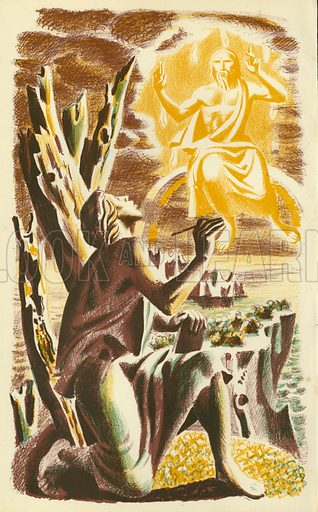 John on Patmos. Illustration for The Revelation of Saint John The Divine with lithographs by Hans Feibusch (Collins, 1946).