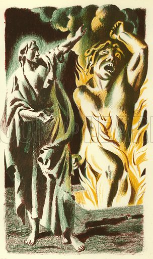 An Angel opens the Pit. Illustration for The Revelation of Saint John The Divine with lithographs by Hans Feibusch (Collins, 1946).