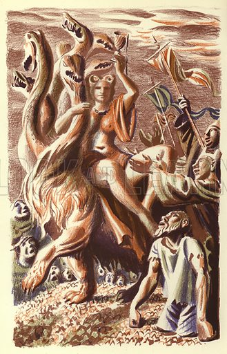 The Woman on the Seven Headed Beast. Illustration for The Revelation of Saint John The Divine with lithographs by Hans Feibusch (Collins, 1946).