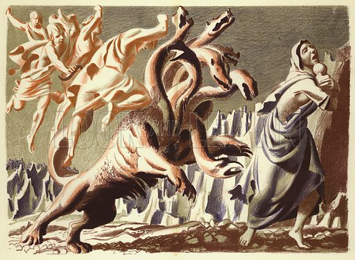 The Dragon and the Woman with the Infant. Illustration for The Revelation of Saint John The Divine with lithographs by Hans Feibusch (Collins, 1946).