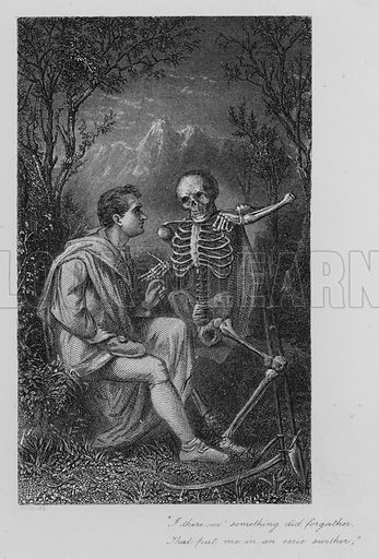 """Death and Dr Hornbook. """"I there wi' something did forgather, / That put me in an eerie swither."""" Illustration for The Poetical Works of Robert Burns (E Moxon, c 1870)."""