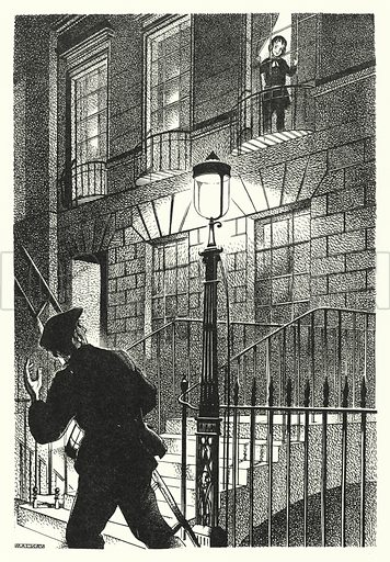 The Lamplighter. Illustration for A Salute to R L S, an illustrated selection from the works of Robert Louis Stevenson edited by Frank Holland and illustrated by Mackay (C J Cousland, c 1950).