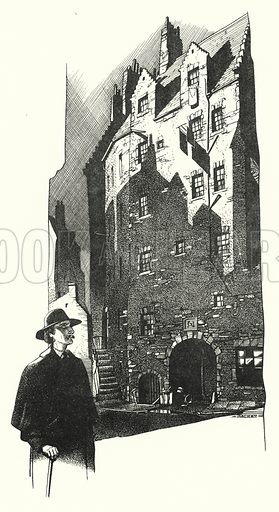 The Old Town - The Lands. Illustration for A Salute to R L S, an illustrated selection from the works of Robert Louis Stevenson edited by Frank Holland and illustrated by Mackay (C J Cousland, c 1950).