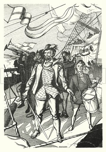 The English Admirals. Illustration for A Salute to R L S, an illustrated selection from the works of Robert Louis Stevenson edited by Frank Holland and illustrated by Mackay (C J Cousland, c 1950).
