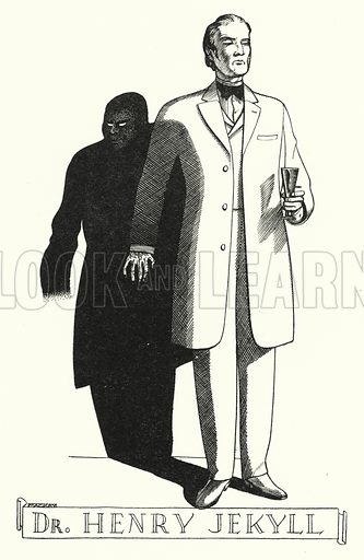 Dr Henry Jekyll. Illustration for A Salute to R L S, an illustrated selection from the works of Robert Louis Stevenson edited by Frank Holland and illustrated by Mackay (C J Cousland, c 1950).