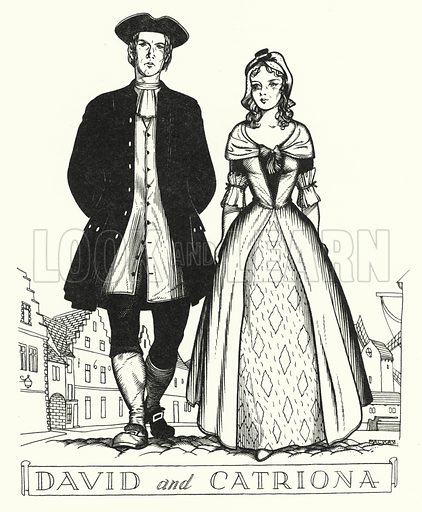 Devid and Catriona. Illustration for A Salute to R L S, an illustrated selection from the works of Robert Louis Stevenson edited by Frank Holland and illustrated by Mackay (C J Cousland, c 1950).