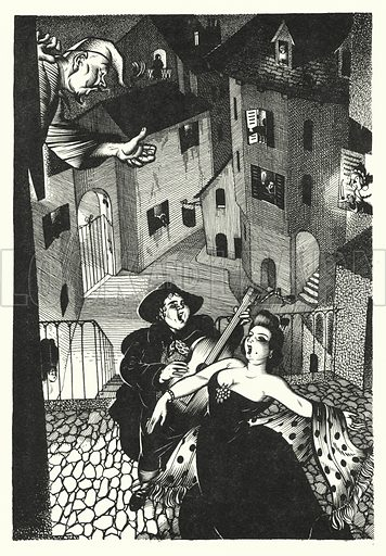 Providence And The Guitar. Illustration for A Salute to R L S, an illustrated selection from the works of Robert Louis Stevenson edited by Frank Holland and illustrated by Mackay (C J Cousland, c 1950).