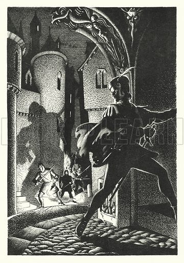 The Sire de Maletroit's Door. Illustration for A Salute to R L S, an illustrated selection from the works of Robert Louis Stevenson edited by Frank Holland and illustrated by Mackay (C J Cousland, c 1950).
