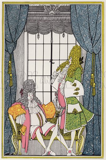 """Illustration for """"Rogues In Porcelain"""", A Miscellany of Eighteenth Century Poems, compiled and decorated by John Austen (Chapman and Hall, 1924)."""