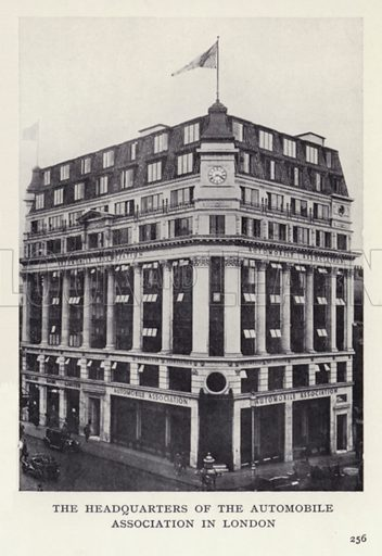 The headquarters of the Automobile Association in London. Illustration for The Romance of Motoring by T C Bridges and H Hessell Tiltman (Harrap, 1933).