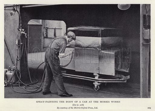 Spray-painting the body of a car at the Morris Works. Illustratoin for The Romance of Motoring by T C Bridges and H Hessell Tiltman (Harrap, 1933).