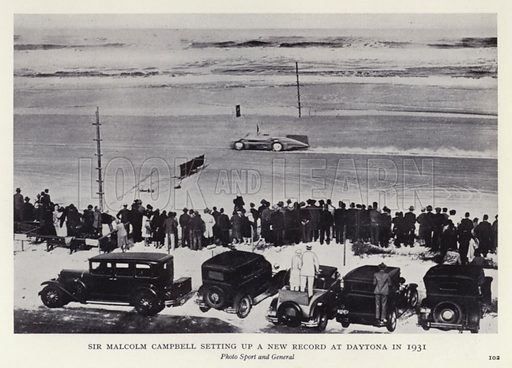 Sir Malcolm Campbell setting up a new record at Daytona in 1931. Illustratoin for The Romance of Motoring by T C Bridges and H Hessell Tiltman (Harrap, 1933).
