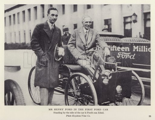 Mr Henry Ford in the first Ford car. Illustratoin for The Romance of Motoring by T C Bridges and H Hessell Tiltman (Harrap, 1933).