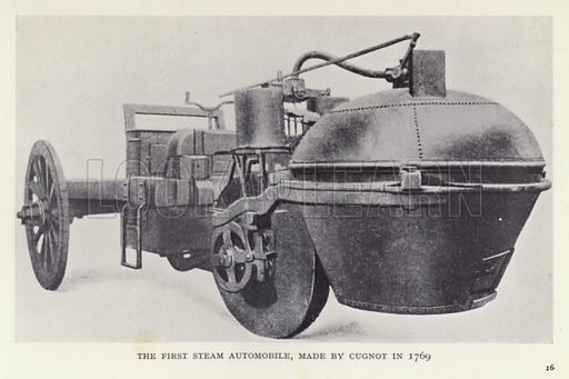 The first steam automobile, made by Cugnot in 1769. Illustratoin for The Romance of Motoring by T C Bridges and H Hessell Tiltman (Harrap, 1933).