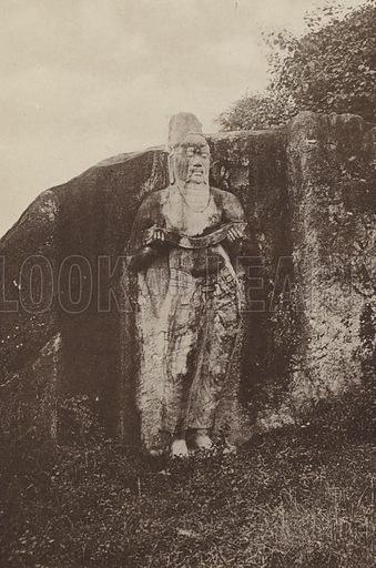 Statue of King Parakrama. Illustration for The Ruined Cities of Ceylon by Henry W Cave, illustrated with photographs taken by the author in 1896, (3rd edn, Hutchinson, 1904).  Gravure printed.